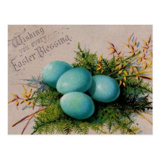 Blue Eggs Easter Greetings Postcard