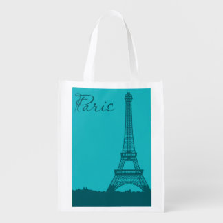 Blue Eifel Tower Reusable Grocery Bag