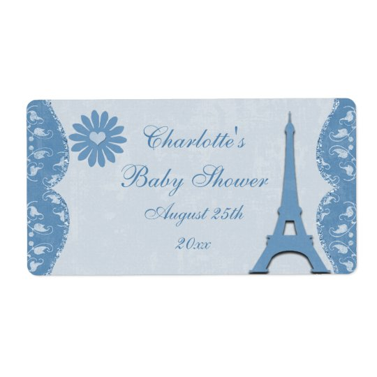 Blue Eiffel Tower Bottle Labels