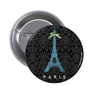 Blue Eiffel Tower in faux glitter 2 Inch Round Button