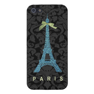 Blue Eiffel Tower in faux glitter iPhone 5 Cover