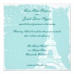 "Blue Eiffel Tower Wedding Inviations 5.25"" Square Invitation Card"