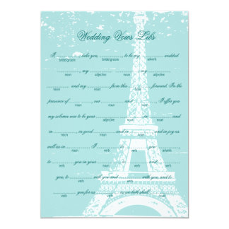 Blue Eiffel Tower Wedding Vows Libs Card