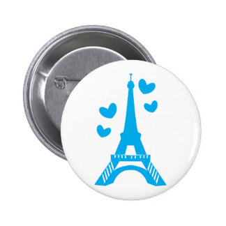 Blue Eiffel tower with love hearts 2 Inch Round Button
