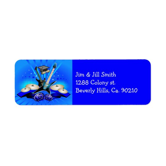 Blue Electric Guitars, Drums & Speakers Grad Party Return Address Label