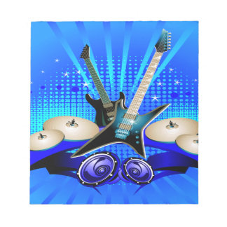 Blue Electric Guitars, Drums & Speakers Notepads