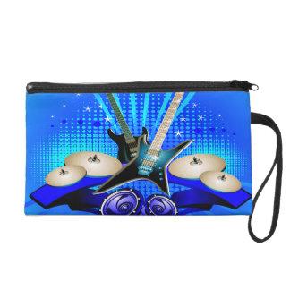 Blue Electric Guitars, Drums & Speakers Wristlet