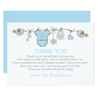 Blue Elegant Babyboy Clothes Thank You BABY SHOWER Card