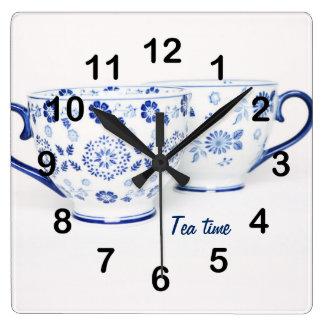 Blue Elegant classic tea cup Square Wall Clock