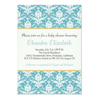 Blue, Elegant, Damask Baby Shower Invitation