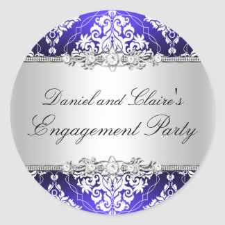 Blue Elegant Damask Engagement Party Sticker