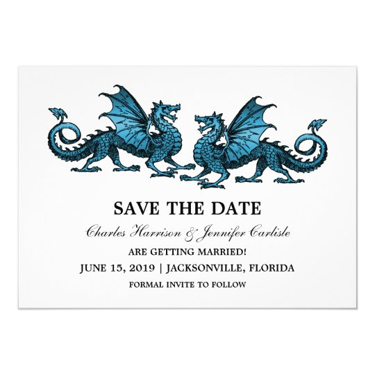Blue Elegant Dragons Save the Date Invite