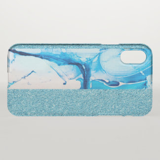 Blue Elegant Faux Marble Paint and Glitter Look iPhone X Case