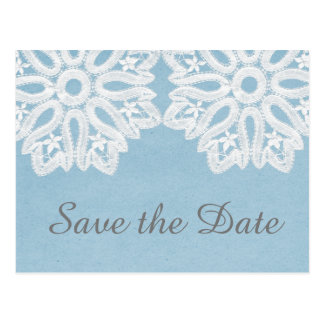 Blue Elegant Lace Save the Date Postcard