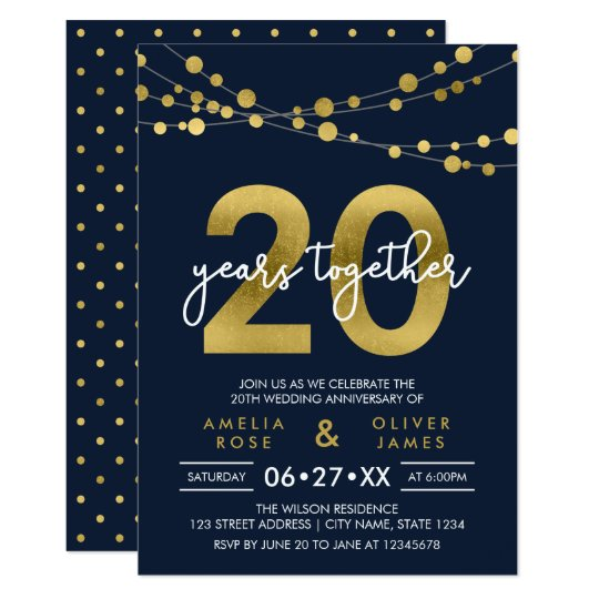 Blue Elegant Lights 20th Wedding Anniversary Card