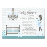 Blue elegant nursery baby boy shower invitation