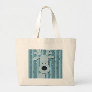 Blue elegant Reindeer Large Tote Bag