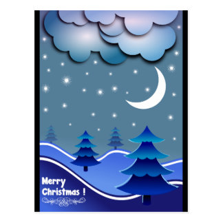 Blue Elegant Snow Stars Balls Tree Merry Christmas Postcard