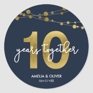 Blue Elegant Strings of Lights 10th Anniversary Classic Round Sticker