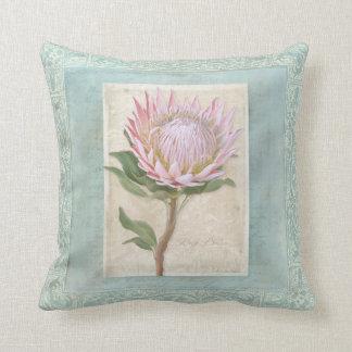 Blue Elegant Vintage Modern Floral Pink Protea Throw Pillow