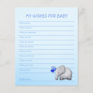 Wishes for baby boy gifts on zazzle ca blue elephant baby boy shower wishes template maxwellsz