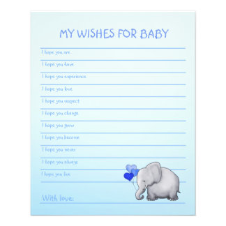 Blue Elephant Baby Boy Shower Wishes Template Flyer