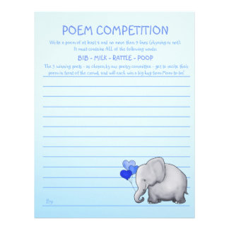 Blue Elephant Baby BoyShower Poem Competition Game Letterhead