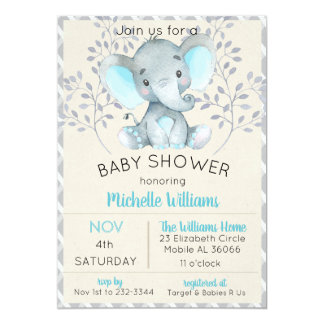 Blue Elephant Baby Shower Invitations Boy