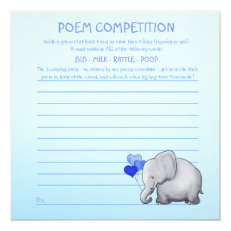 Blue Elephant Baby Shower Poem Competition Game Card