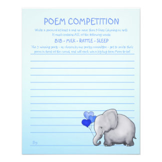 Blue Elephant Baby Shower Poem Competition Game Flyer