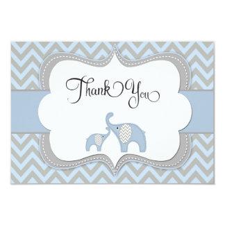 "Blue Elephant Baby Shower Thank You Card 3.5"" X 5"" Invitation Card"