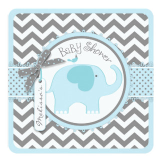"Blue Elephant Bird and Chevron Print Baby Shower 5.25"" Square Invitation Card"