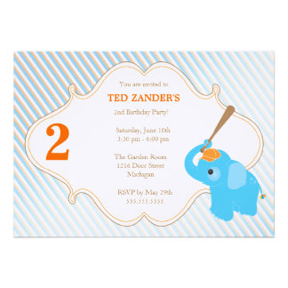 Blue Elephant Birthday Invitation