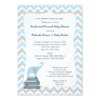 Blue Elephant Book Baby Shower, books and brunch Card