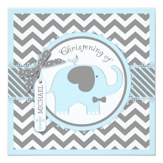 Blue Elephant Bow Tie Chevron Print Christening Card