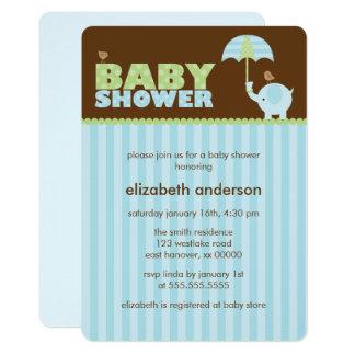 Blue Elephant Boy Baby Shower Card