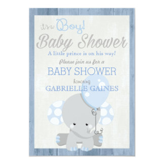 Blue Elephant Boy Baby Shower Country Invitation