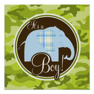 Blue Elephant bright green camo camouflage Print