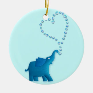 blue elephant ceramic ornament