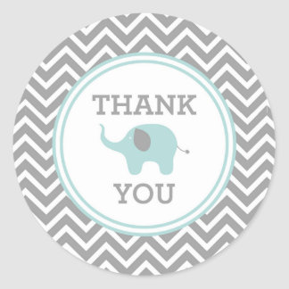 Blue Elephant Chevron Thank You Favor Sticker