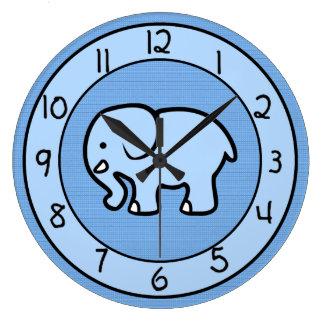 Blue Elephant Clock for Boys Bedroom