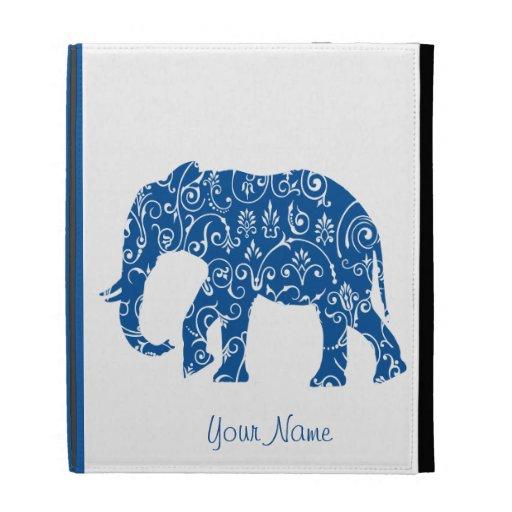 Blue Elephant Floral iPad Case