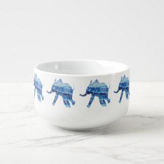 Blue Elephant Mandala Art Soup Mug