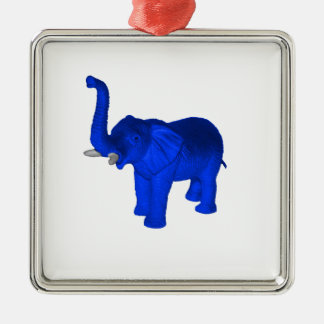 Blue Elephant Metal Ornament