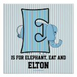 "Blue Elephant Monogrammed ""E"" Baby Room Poster"