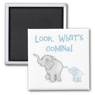 Blue Elephant Pregnancy Square Magnet