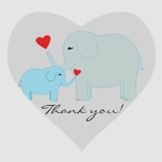 Blue Elephant Thank You Stickers
