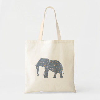 Blue Elephant with Gold Stars Tote Bag