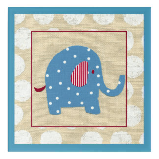 Blue Elephant with White Polka Dots Acrylic Print