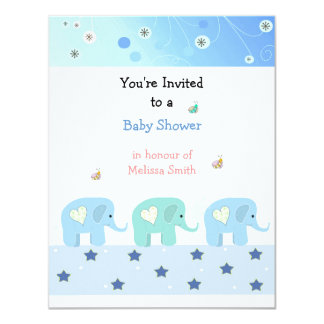 Blue Elephants Baby Shower Invitation